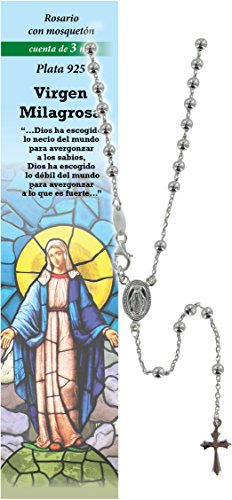 Rosario Virgen de los Milagros de plata 925 con cuentas de Ø 3 mm y una oración en español