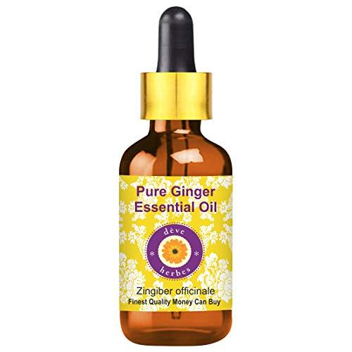 Huile essentielle de gingembre pur Deve Herbes (Zingiber officinale) avec compte-gouttes en verre 100% naturel de qualité thérapeutique distillé à la vapeur 15ml (0,50 oz)