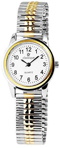 Classique Damen-Uhr Zugarmband Bicolor Metall Analog Quarz 1700016