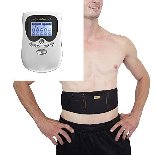 HealthmateForever PM10AB White Best Powerful Pain Relief Electric Impulse 8 Modes Massager | Muscle Pulse Massager + Extra Weight Loss Abs Waist Toning Belt | Hand Held Massagers for Back Pain Relief