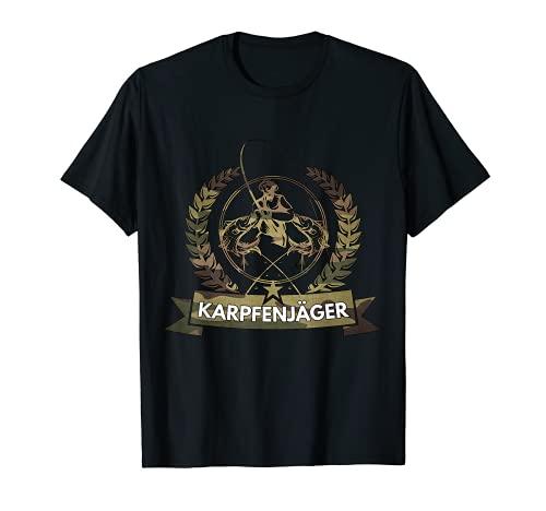 Shirt mit Karpfen Jäger Camo Anglermotiv Angler Fischer T-Shirt