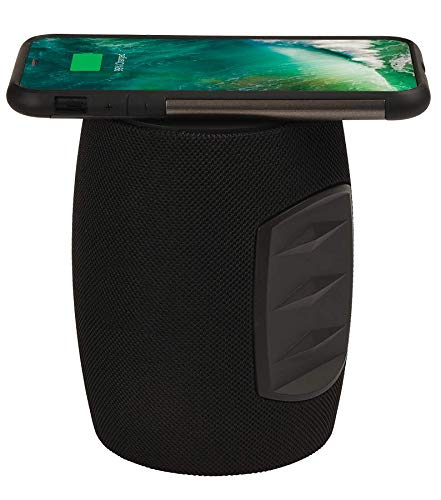 Wireless Charger Station, Bluetooth Speaker and Audio Dock from 808 - Grip Power Wireless Speaker with Qi Charging, for Most Phones, Pads, Tablets, iPhone, Samsung, etc.