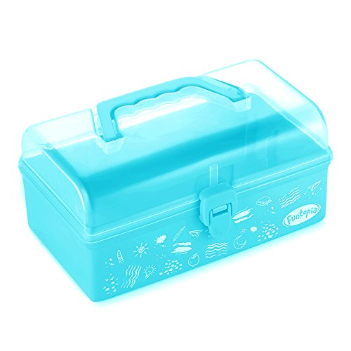 Funtopia Plastic School Supply Box, Art and Craft Storage Box, Tool Box for Kids, Children, Storage Container and Case with Latch and Handle, Perfect for Craft Items, Toys, Stationery and More - Blue