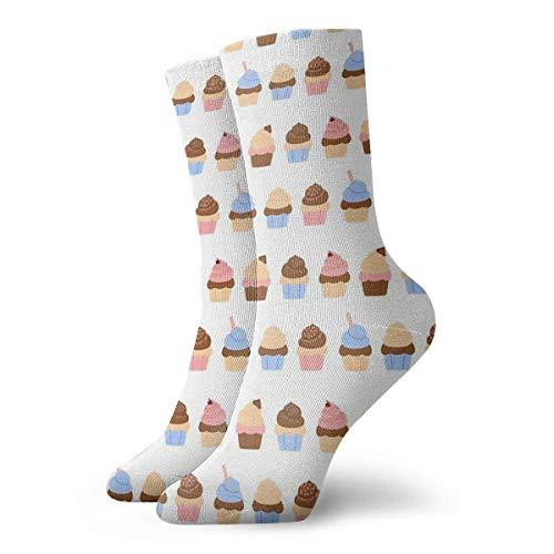 Hangdachang Regalo de Navidad Cupcakes Calcetines Calcetines cortos para adultos Calcetines clásicos...