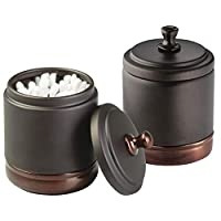 mDesign Metal Bathroom Vanity Canister Jar for Cotton Balls, Swabs, Cosmetic Pads - Pack of 2, Split Tone Bronze
