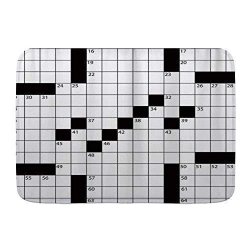 N\\A Fußmatten, 3D-gedrucktes leeres Kreuzworträtsel im Zeitungsstil mit Zahlen in Wort, Küchenboden Badteppichmatte Saugfähig Innenbad Dekor Fußmatte rutschfest