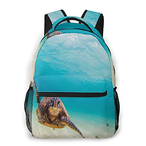 Mochila de viaje para portátil,buceo submarino hawaiano,tortuga marina,naturaleza,animal,natación,vida silvestre,tema,resistente al agua,resistente al agua,mochila antirrobo,delgada y duradera
