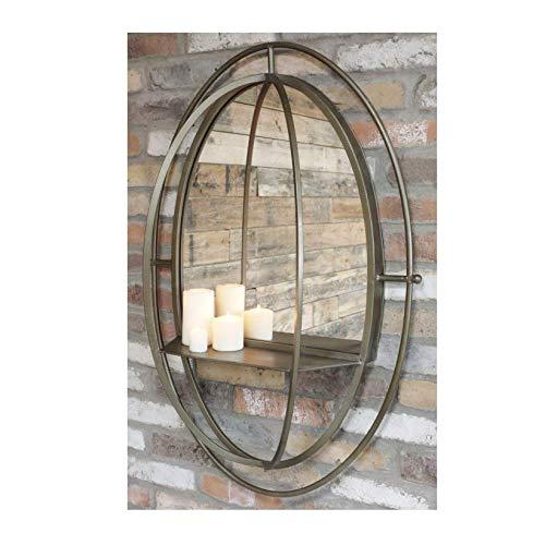 Espejo Ovalado de Estilo Industrial de 99 cm con Estante