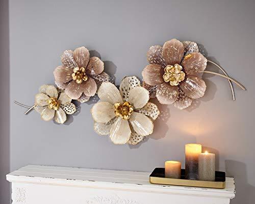 """3D Wandbild \""""Blumen\"""" aus Metall, 112x52 cm, in verschiedenen Rosa-Tönen, Wandschmuck, Wanddeko, Wandverzierung, Deko-Objekt"""