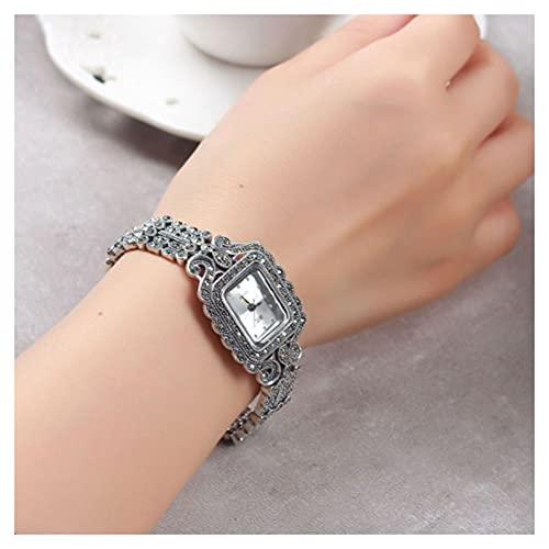 CHXISHOP Reloj de Plata esterlina de Las Mujeres 925 joyería de Plata Retro Reloj de Esfera Rectangular Pulsera Reloj Accesorios de joyería de muñeca Moda White-L