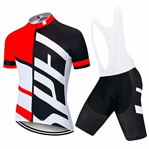 HXTSWGS Set Abbigliamento Ciclismo da Uomo in Jersey,Kit da Ciclismo da Uomo , Maglia da Bicicletta Traspirante Maglia da Mountain Bike Top con 3 Tasche Posteriori e Salopette