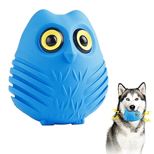 Toozey Dog Chew Toys for Aggressive Chewers, Cute Owl Dog Teething Chew Toys for Medium Large Breed, Non-Toxic Durable Natural Rubber Squeaky Dog Toys (Blue)