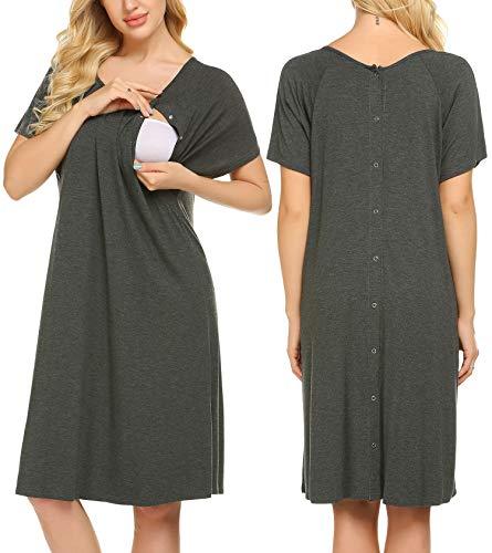 Ekouaer Womens Nursing Nightgowns Breastfeeding Short Sleeve Hospital Gown for Labor and Delivery(Dark Grey,M)