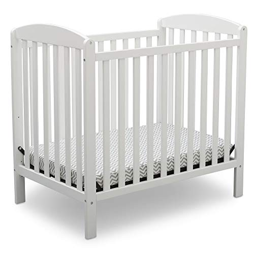Delta Children Emery Mini Convertible Baby Crib with 2.75-inch Mattress, Bianca White