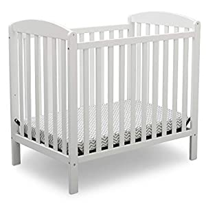 Delta Children Emery Mini Convertible Baby Crib with 2.75-inch Mattress, Bianca White
