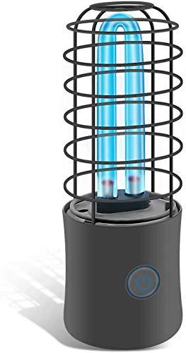 Lámpara Desinfección UVC Luz de Esterilización Germicida Ultravioleta Portátil 254nm Lámpara Recargable USB Antibacteriano (Negro, UVC+Ozono)