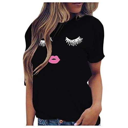 T-Shirt Damen lässig Spaß Wimpern Ausdruck drucken Kurzarm Weste (XXL,3Schwarz)