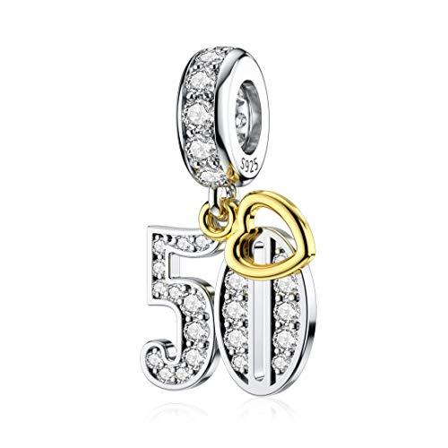 DALARAN - Charm in argento sterling placcato oro per bracciali Pandora, 16/18/21/30/40/50/60 anni di amore, per compleanno e Argento, colore: 50°, cod. 10214398PT