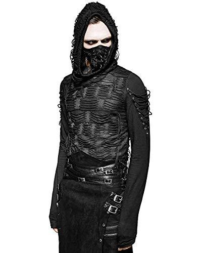 Punk Rave Decay Sudadera Capucha Hombre Negro Gótico Dieselpunk Punk Distópico con Capucha - Negro, Negro, S/M