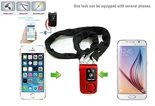 Cqjdg Smartes Fahrradschloss, Bluetooth, mit Alarmfunktion und Appsteuerung, schwarz