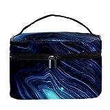 Neceser bolsa de maquillaje cepillos de transporte bolsa de lavado de gimnasio bolsa organizador de cosméticos bolsa de viaje, abstractas rayas de mármol azul