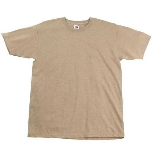 Fruit of the Loom - Camiseta Básica de Manga Corta Modelo Valueweight - Hombres (S/Caqui)