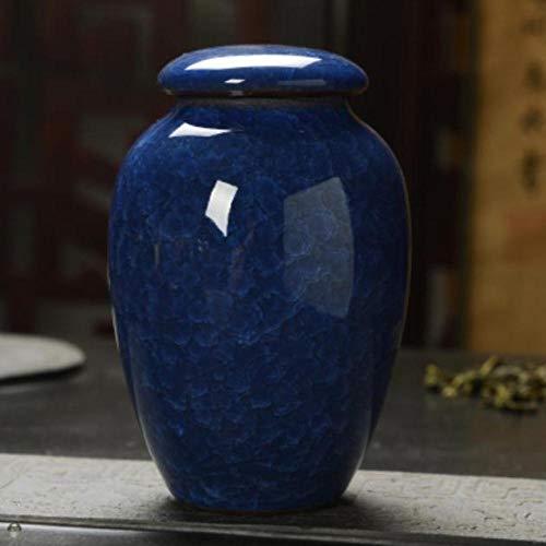 Houer Keramische Ice Crack-theedoos Mini-opslagcontainers Theepot Verzegelde thee Snoep Theeaccessoires, blauw