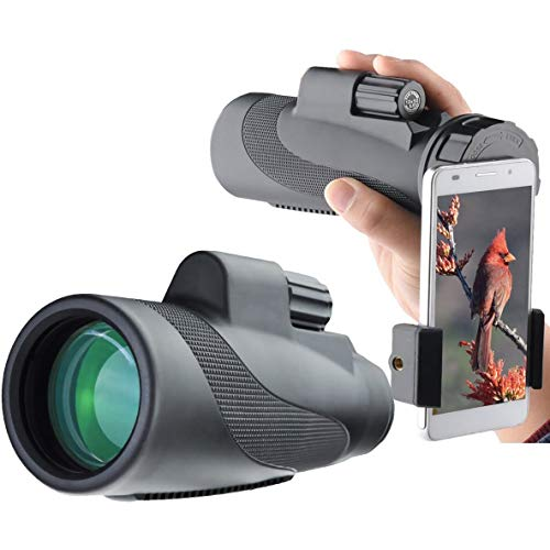 Lowest Prices! HWZGSLC 12X50 High Power Prism Monocular and Quick Smartphone Adapter- Waterproof Fog...