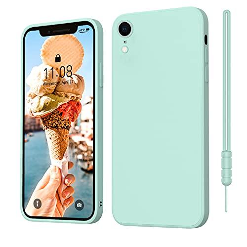 iPhone XR Hülle Silikon Hülle, ORDA Hanyhülle iPhone XR Ultra Dünn Slim mit Microfiber, Kratzfeste R&umschutzHülle Schutzhülle Hülle für iPhone XR 6.1'' Mint Grün