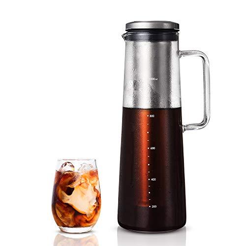soulhand Cold Brew Kaffeemaschine, Ice Kaffeemaschine-40oz / 1200 ML Borosilikatglas Hot & Cold Tee Brauen Cold Brew System mit Herausnehmbaren Filter für Home Office Iced Kaffee und Tee