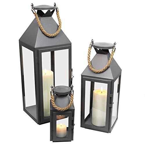 Multistore 2002 3tlg. Modisches Laternen-Set in Grau H24/41/55cm Metalllaterne Gartenlaterne Laterne Windlicht mit Aufhängung Metallgestell mit Glasfenstern
