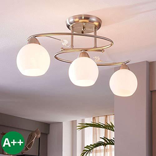 Preisvergleich Produktbild Lindby Deckenlampe 'Svean' dimmbar (Modern) in Weiß aus Glas u.a. für Wohnzimmer & Esszimmer (3 flammig,  E14,  A++) - Deckenleuchte,  Lampe,  Wohnzimmerlampe