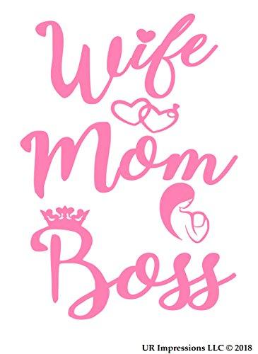 UR Impressions Pnk Wife-Mom-Boss Decal Vinyl Sticker Graphics for Cars Trucks SUV Vans Walls Windows Laptop|Pink|5.5 X 4.4 Inch|URI307-P