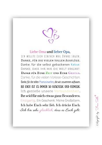 Danke Oma und Opa - Bild für Großeltern – Geschenk Geschenkidee Weihnachtsgeschenk Geburtstag Oma Opa Kunstdruck DIN A4