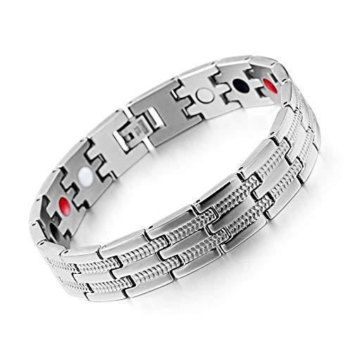 SSC Magnet Armband Edelstahl   silber   Magnetarmband (2000+ Gauss)   antiallergener Schmuck (316L Chirurgenstahl)   Ideal als Geschenk (SSC-225)