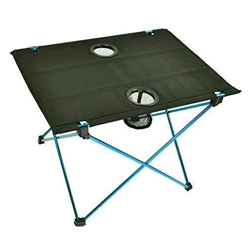 Mesas de camping de viaje plegables portátiles ultraligeras con portavasos de alta resistencia, marco de aleación de aluminio, cubierta de tela Oxford antidesgarro, pies antideslizantes, con carro