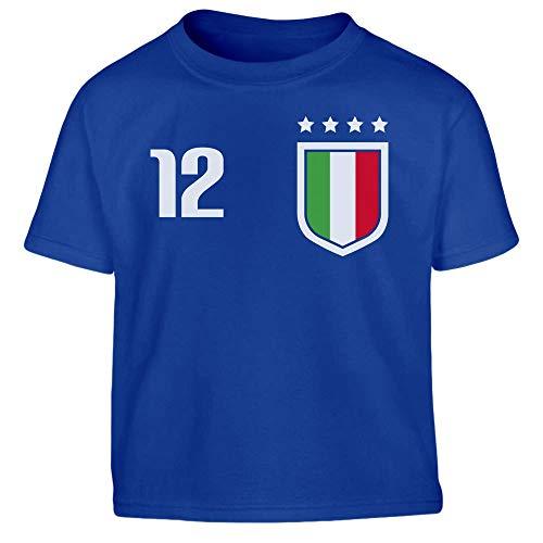 Shirtgeil Nazionale di Calcio Italiana - Italia Squadra Azzurra Maglietta per Bambini 3-4 Anni Blu
