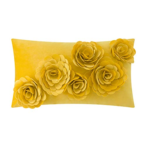 JWH 3D Rose Flower Accent Pillow Cases Handmade Cushion Covers Velvet Pillowcases Home Sofa Office Chair Bed Room Decor 12 x 20 Inch Yellow