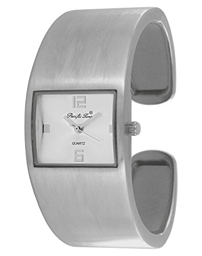 Pacific Time Damen-Armbanduhr Spangenuhr gebürstet Analog Quarz silber 21625