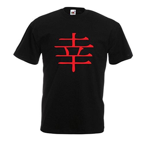 Männer T-Shirt Glücklogogram - Chinesisches/Japanisches Kanji-Symbol (XXX-Large Schwarz Rote)