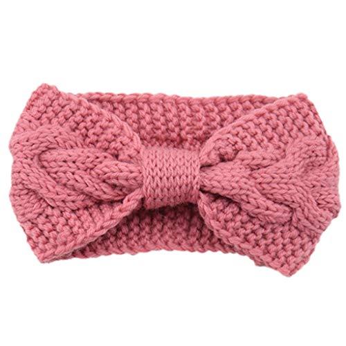 S-TROUBLE Mujeres Winter Twist Cable Knitted Wide Headband con Botones Bowknot Center Color sólido Deportes Headwrap Clima frío Estiramiento de Turbante Calentador de Orejas