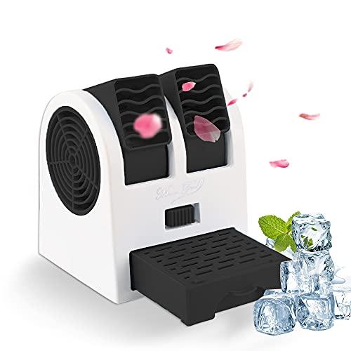 Tragbare Klimaanlage, Air Cooler Luftbefeuchter, USB Tragbare Mini Klimagerät 3 in 1 Raumluftkühler, Luftreiniger, Tragbarer Tischventilator für Büro,Hotel und Haus(Schwarz)
