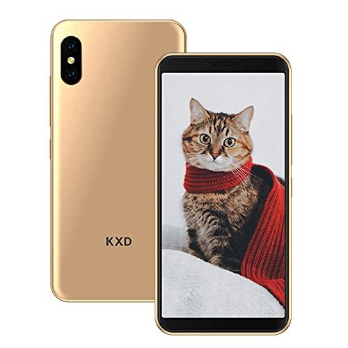 KXD 6A Teléfono Móvil 1GB RAM +8GB RAM (64GB SD) Teléfono Inteligente 3G Android Desbloqueado 5.5 Pulgadas 2500mAh Batería Libre Dual SIM Movil Barato 5MP Cámara-Oro