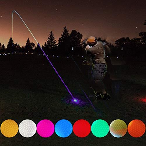 LED Leuchtender Golfball, 8 Farben Nacht Glof Golfbälle für Night Training Golf Praxis Kugeln für Golfliebhaber Spielen Am Abend