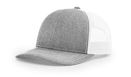 Richardson 112 Trucker OSFA Baseball Hat Ball Cap, Heather Grey/White