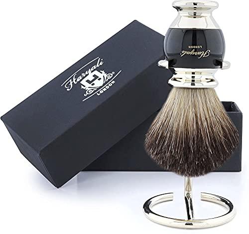 Haryali Sophist Collection - Brocha de afeitar de pelo de tejón con soporte de alambre de acero inoxidable alemán