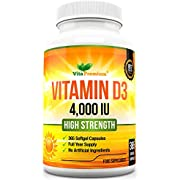 Vitamin D 4,000 IU, Maximum Strength Vitamin D3 Supplement, 365 Easy to Swallow Softgels - Full Year Supply, Made in Great Britain