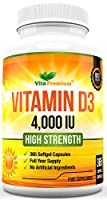 """MAXIMUM STRENGTH - Our Vitamin D supplement offers 4,000 IU per softgel to give you more of the """"sunshine vitamin"""" your body needs. Don't be fooled by many other brands who offer a weaker formulation Vitamin D3 tablets. NO ARTIFICIAL INGREDIENTS - MA..."""