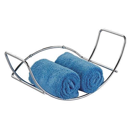 mDesign - Handdoekenrek - handdoekhouder/badkameraccessoires - voor badhanddoeken - wandmodel/metaal/strak design/eenvoudige bevestiging - Chroom