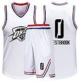 Oklahoma City Thunder 0# Baloncesto Jersey Westbrook, Baloncesto Swingman Jersey Ropa Deportiva Unisex Camiseta sin Mangas Pantalones Cortos Traje-White-XL